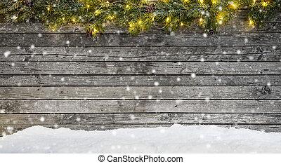 weihnachtsbeleuchtung, mit, dekoration, auf, holz