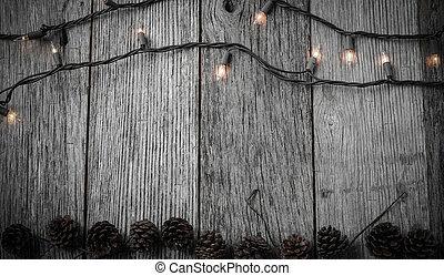 Weihnachtsbeleuchtung Kegel.Kegel Hintergrund Kiefer Rustic Holz Dekorationen Weihnachten