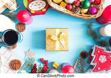 weihnachtsdeko, auf, blaues, holzbrett, mit, kopieren platz