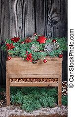 weihnachtsdeko, auf, hölzern, tische