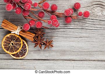 weihnachtsdeko, auf, holz, hintergrund, mit, frei, raum, für, dein, text