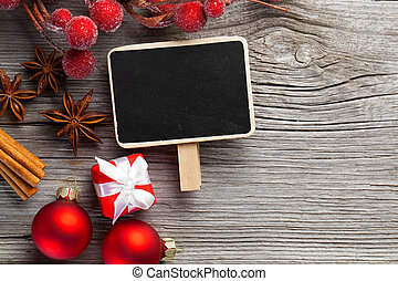 weihnachtsdeko, auf, holz, hintergrund, mit, frei, raum, für, sie