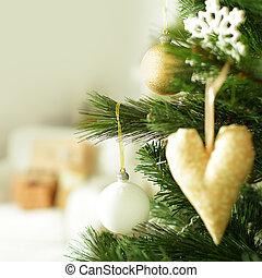 weihnachtsdeko, auf, weihnachtsbaum, unscharfer hintergrund
