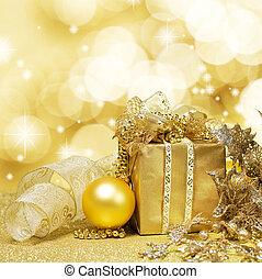 weihnachtsdeko, aus, glitzern, goldener hintergrund