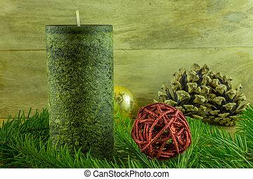 Weihnachtsdeko In Grün.Tanne Rustic Kugeln Kerzen Dekoration Grün Brett Zweig