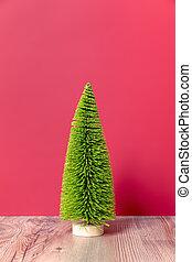 weihnachtsdeko, grün, tanne, figur, auf, rosa, backgound