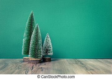 weihnachtsdeko, grün, tannen, figur, auf, grün, backgound
