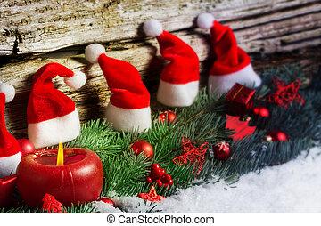 weihnachtsdeko, in, schnee