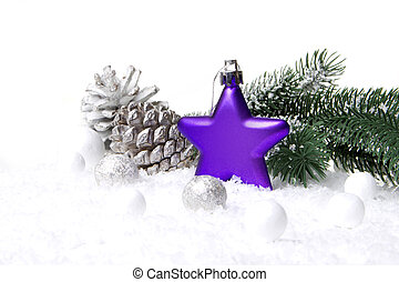 weihnachtsdeko, lila, und, whi
