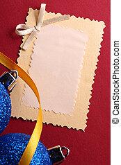 weihnachtsdeko, mit, grüßen karte