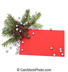weihnachtsdeko, mit, grüßen karte, freigestellt