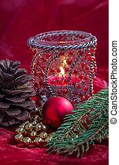 weihnachtsdeko, mit, kerze