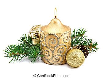 weihnachtsdeko, mit, kerzen, und, tanne