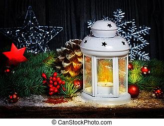 weihnachtsdeko, mit, laterne
