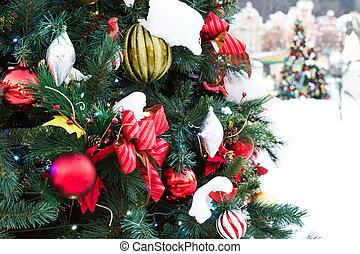 weihnachtsdeko, mit, schnee