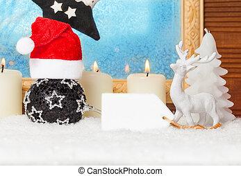 weihnachtsdeko, mit, tafel