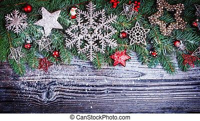 weihnachtsdeko, mit, tanne, auf, holz