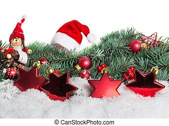 weihnachtsdeko, mit, tanne