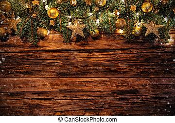 weihnachtsdeko, mit, tannenzweige, auf, holzplanken