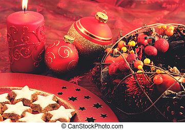 weihnachtsdeko, mit, traditionelle , pl�tzchen
