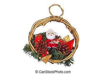 weihnachtsdeko, mit, weihnachtsmann