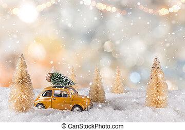 Weihnachtsdeko auto mit baum