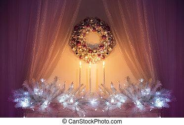weihnachtsdeko, nacht, lichter, weißes, weihnachten, dekor, baum- niederlassung, kranz, kerzen