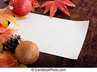 weihnachtsdeko, und, altes , papier, mit, künstlich, ahorn, blättert, aus, altes , holz, hintergrund