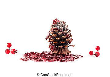 weihnachtsdeko, von, kiefer, cones.