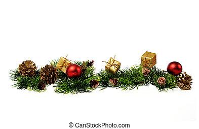 weihnachtsdeko, von, weihnachtsbäume, geschenke, kegel, auf, a, weißes