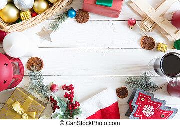 weihnachtsdeko, weiß, holzbrett, mit, kopieren platz