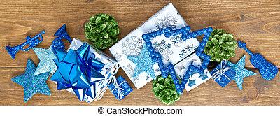 weihnachtsdekoration, mit, bunter, hintergrund