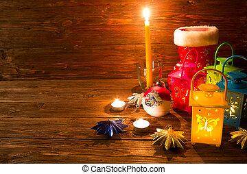 weihnachtsdekorationen, auf, hölzern, tisch., jahreswechsel, begriff
