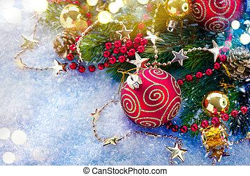 weihnachtsdekorationen, aus, schnee, hintergrund., weihnachtsurlaub, kunst, design