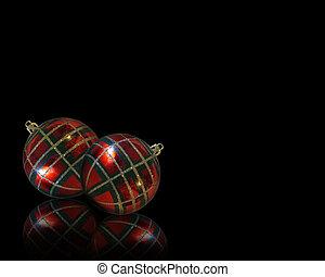 weihnachtsdekorationen, ecke, schwarz