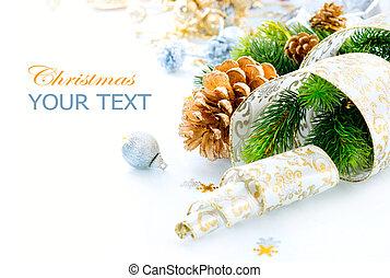 weihnachtsdekorationen, freigestellt, weiß, hintergrund