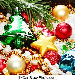 weihnachtsdekorationen, hintergrund, für, weihnachtskarte