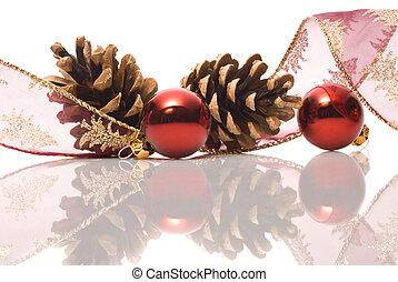 weihnachtsdekorationen, mit, reflex