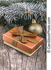 weihnachtsdekorationen, und, geschenkschachtel