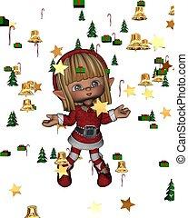 weihnachtself, mit, festlicher, konfetti