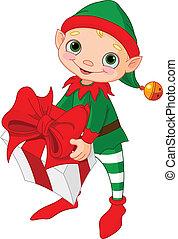weihnachtself, mit, geschenk