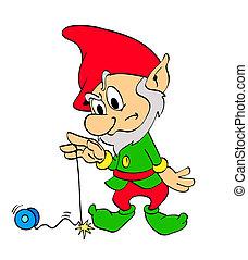 weihnachtself, mit, yo-yo