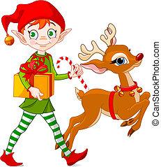 weihnachtself, und, rudolph
