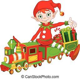 weihnachtself, und, spielzeugeisenbahn