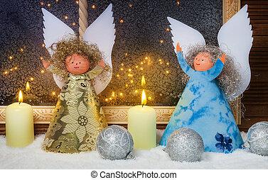 weihnachtsengel, fenster, dekorationen