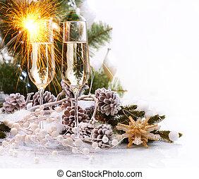 weihnachtsfeier, mit, champagner