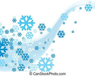 weihnachtsfeier, schneeflocke, fallender