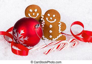weihnachtsgebäck, und, kandieren spazierstocke