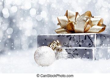 weihnachtsgeschenk, in, fallender , schnee