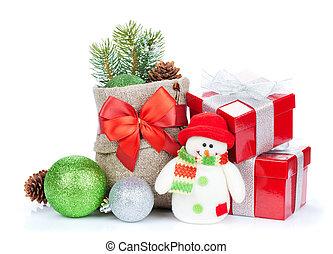 weihnachtsgeschenk, kästen, dekor, und, schneemann, spielzeug